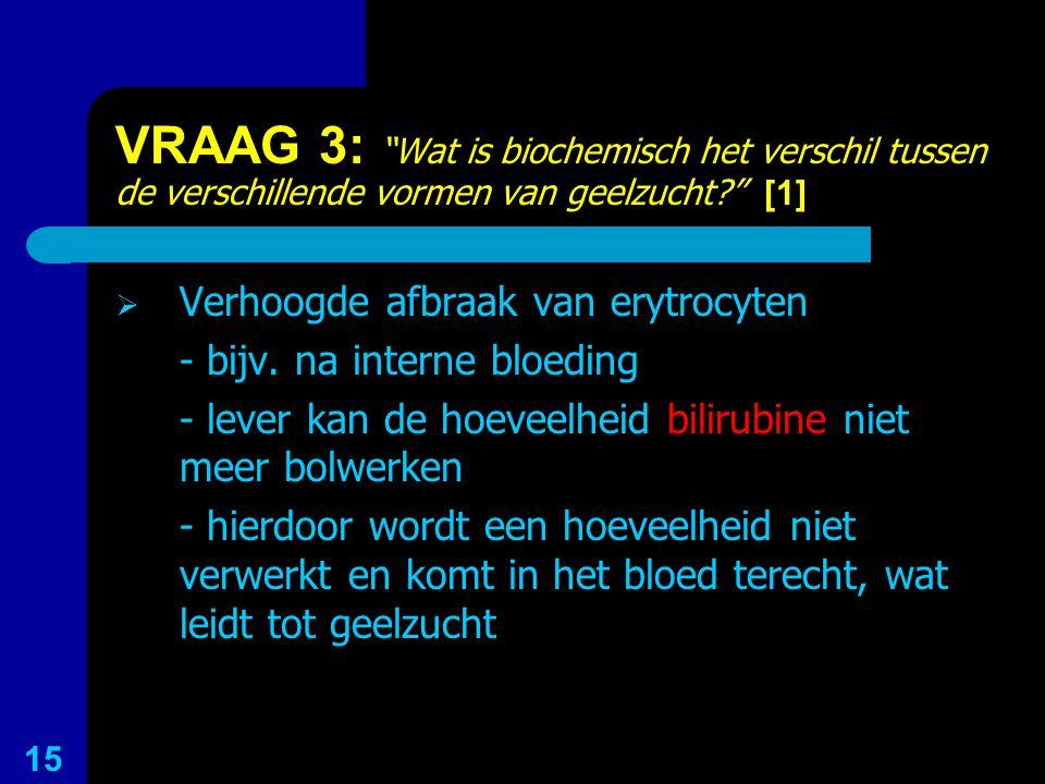 VRAAG 3: Wat is biochemisch het verschil tussen de verschillende vormen van geelzucht [1]